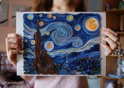 """""""Звездная ночь"""" Ван Гога в технике квиллинг"""