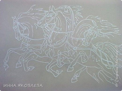 """""""Эх! Три белых коня!"""" Делалось под моим руководством со старой открытки. фото 2"""