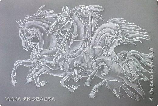 """""""Эх! Три белых коня!"""" Делалось под моим руководством со старой открытки. фото 1"""