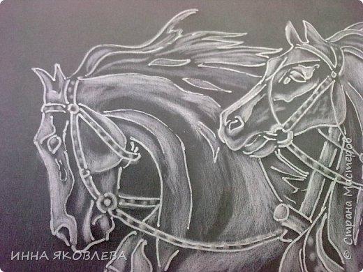 """""""Эх! Три белых коня!"""" Делалось под моим руководством со старой открытки. фото 5"""