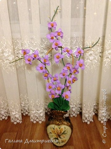 Добрый вечер жители Страны Мастеров! Вот такую орхидею я сотворила впервые.  Затем дочери моей понравилась и она заказала большую орхидею. Вторая  уже получилась получше. Мне она очень понравилась, я думаю Вам она тоже понравится.    фото 3