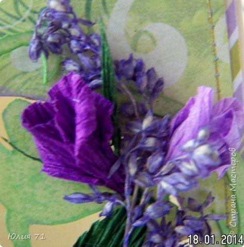 Открытка создавалась для женщины, которая любит фиолетовый цвет и розы. А ещё она несёт свет в мою жизнь (и не только в мою)! фото 4