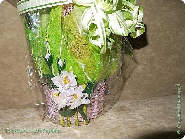 """В 2014 году сын пошел во второй класс и я решила - а что мне стоит самой изобразить букет на 1-е сентября?! :)) Но, честно говоря, мне жаль срезанные цветы и я не слишком люблю букеты в итоге - радости много, конечно, но только на неделю максимум... Посему было решено дарить более долговечную версию букета: орхидею в горшке. Ну а поскольку горшки у магазинных орхидей не блещут красой (корням нужен свет), а мы не ищем легких путей... Я давненько засматривалась на газетные плетенки мастериц из СМ, а тут - и повод и идея! :) Отпуск, опять же, взятый перед началом школьного года...  Итак, была выбрана чудесная большущая орхидея (я их большая поклонница вообще в последнее время, ибо они у меня единственные цветы, которые мало того, что почти все выживают, да при этом еще и цветут!) :)) Я накрутила трубочек, предварительно сверившись с кучей МК, и начала плести кашпо. Потом его покрасила в множество слоев разных красок, добиваясь нужного оттенка (к слову, так и не до конца подошедшего), покрыла лаком на водной основе (какой был на тот момент), сбоку прилепила несколько кусочков веточек, окрашенных в салатовый цвет, и бумажные цветы из гофробумаги (я их только-только научилась делать :)). Украсила стразами-росинками и упаковала в купленный по случаю (за случаем ездили с мужем во флористический магазин на другой конец Москвы, где купила еще мнооого всякого """"абсолютно необходимого в жизни"""" :)))) ) полиэтилен. Банты накрутила как смогла, салатовая и розовая флористическая упаковка осталась от букетов (хомякоз - страшнючая болезнь, а они красииивые быыли :) ) фото 2"""