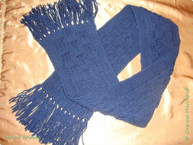 Вязаный мужской двухсторонний шарф (18 х 144)  выполнены на руках из 200 гр. Турецкой пряжи NAKOPREMIER WOOL (70% шерсть, 30% акрил, 100гр - 230м). Пряжа толстая, мягкая, и, видимо, в носке будет теплая))) Шарф красивый, с кистями. Очень элегантный, богато смотрится. фото 2