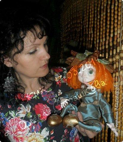"""Здравствуй СМ!!! Вот и моя самая, самая любимая куколка """"Рыжик""""!!!!!! Куколку начинала делать осенью  и ассоциировалась она именно с золотистой, солнечной осенью,с ярким солнечным лучиком, поэтому и цвет волос такой рыженький и имя """"Рыжик"""" Выполнена из папье маше на проволочном каркасе. фото 2"""