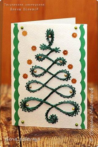 Новогодние открытки в технике изонить. фото 1