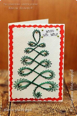 Новогодние открытки в технике изонить. фото 2