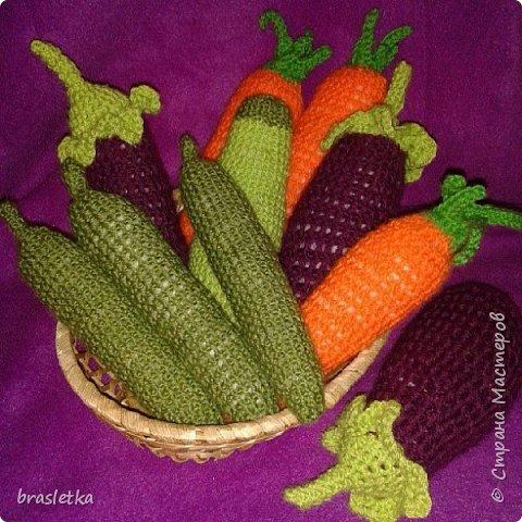 Вязаные крючком овощи. Баклажан. Морковка. Огурец.