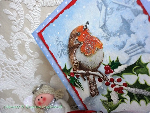 Открыточки новогодние по просьбе одной милой девушки. Ей надо было простенькие и похожие. Сначала сделался вот этот снегирь. Потом похожих не получилось и я начала все сначала, так что снегирь остался в одиночестве.  фото 2