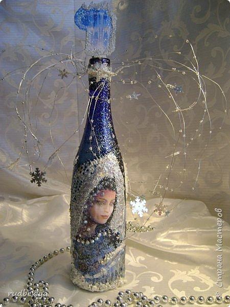 Доброй ночи страна Мастеров! Хочу показать Вам свою любимую бутылочку Снежная королева. Делала я ее моей хорошей знакомой с каким то особым трепетным чувством. тема была навеяна во-первых, тем что это ее любимая сказка, а также чудесным аквамариновым цветом бутылочки.  Я думаю, что Вы все хорошо помните эту замечательную сказку. Так что приятного путешествия...Все стихи взяты из  Сказки в стихах Снежная королева. (По мотивам одноимённой сказки Г. Х. Андерсена. Переложение на стихи — Владимир Глушков). фото 1