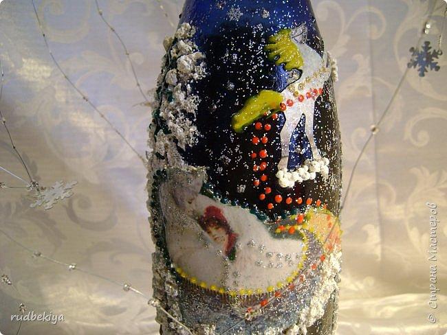 Доброй ночи страна Мастеров! Хочу показать Вам свою любимую бутылочку Снежная королева. Делала я ее моей хорошей знакомой с каким то особым трепетным чувством. тема была навеяна во-первых, тем что это ее любимая сказка, а также чудесным аквамариновым цветом бутылочки.  Я думаю, что Вы все хорошо помните эту замечательную сказку. Так что приятного путешествия...Все стихи взяты из  Сказки в стихах Снежная королева. (По мотивам одноимённой сказки Г. Х. Андерсена. Переложение на стихи — Владимир Глушков). фото 6