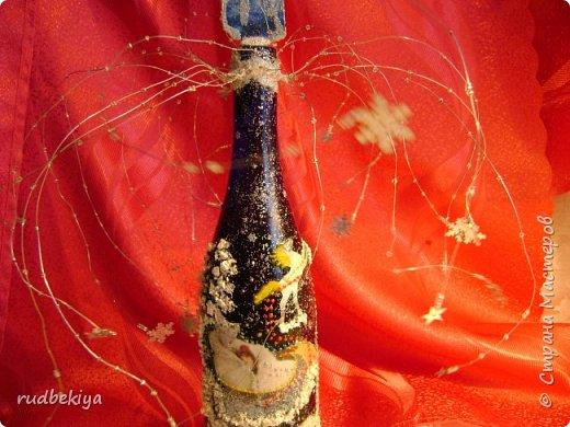 Доброй ночи страна Мастеров! Хочу показать Вам свою любимую бутылочку Снежная королева. Делала я ее моей хорошей знакомой с каким то особым трепетным чувством. тема была навеяна во-первых, тем что это ее любимая сказка, а также чудесным аквамариновым цветом бутылочки.  Я думаю, что Вы все хорошо помните эту замечательную сказку. Так что приятного путешествия...Все стихи взяты из  Сказки в стихах Снежная королева. (По мотивам одноимённой сказки Г. Х. Андерсена. Переложение на стихи — Владимир Глушков). фото 31