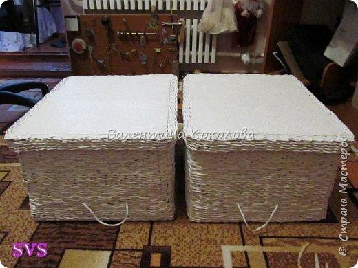 Две большие коробки были сплетены под заказ.Размеры д.- 50см, ш - 40см, в - 27см. фото 2