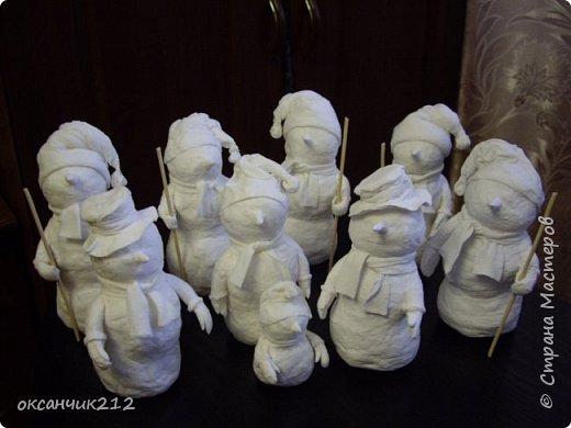 Игрушка Новый год Папье-маше Снеговички из ватного папье-маше Вата фото 18
