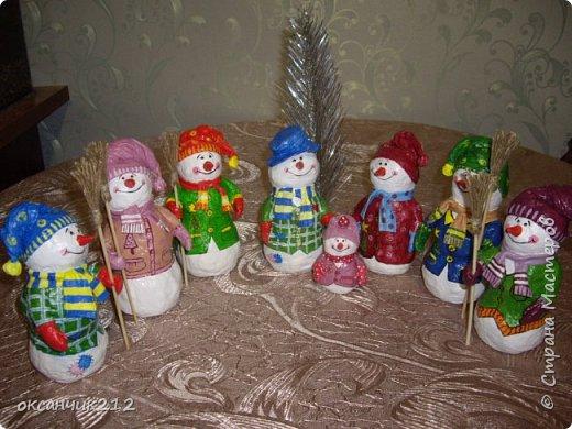 Игрушка Новый год Папье-маше Снеговички из ватного папье-маше Вата фото 19