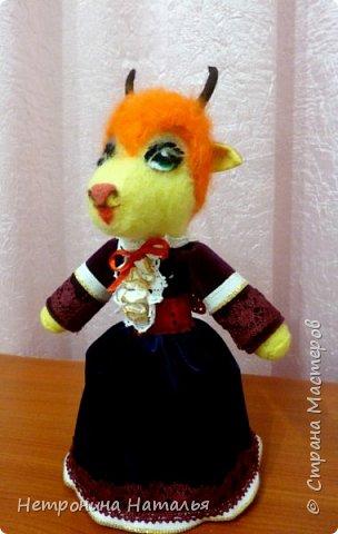 Нетронина Наталья, Игрушка -Козочка -Катюшка, (смешанная техника, сухое валяние, фетр и прочие ), высота 22 см, фото 3
