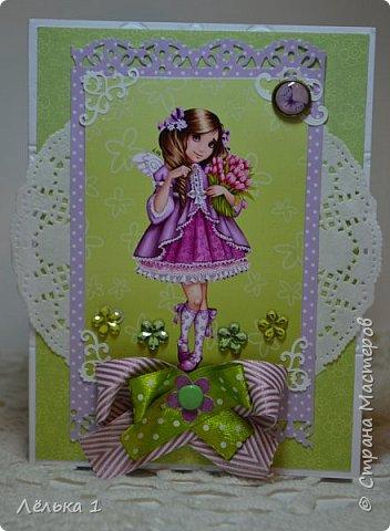 Всем привет!!! Делала открытку девочке на день рождения 7 лет, для выбора сделала три. Детских открыток еще не делала, да и рисунки этой художницы (LIA) очень нравятся мне, вот и получилась такая мини серия. Материалы: бумага скрапберрис, пуговицы, цветы, брадс, полубусины и т.д. Размер 10*15.  №1 фото 6
