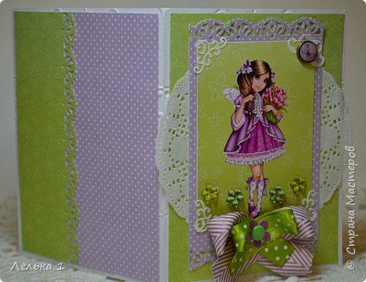 Всем привет!!! Делала открытку девочке на день рождения 7 лет, для выбора сделала три. Детских открыток еще не делала, да и рисунки этой художницы (LIA) очень нравятся мне, вот и получилась такая мини серия. Материалы: бумага скрапберрис, пуговицы, цветы, брадс, полубусины и т.д. Размер 10*15.  №1 фото 7