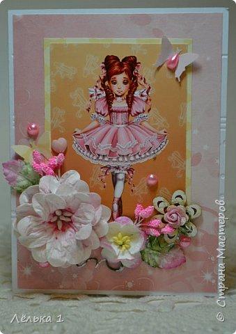Всем привет!!! Делала открытку девочке на день рождения 7 лет, для выбора сделала три. Детских открыток еще не делала, да и рисунки этой художницы (LIA) очень нравятся мне, вот и получилась такая мини серия. Материалы: бумага скрапберрис, пуговицы, цветы, брадс, полубусины и т.д. Размер 10*15.  №1 фото 3