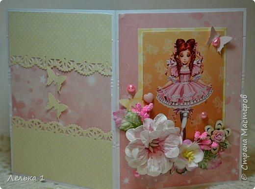 Всем привет!!! Делала открытку девочке на день рождения 7 лет, для выбора сделала три. Детских открыток еще не делала, да и рисунки этой художницы (LIA) очень нравятся мне, вот и получилась такая мини серия. Материалы: бумага скрапберрис, пуговицы, цветы, брадс, полубусины и т.д. Размер 10*15.  №1 фото 5