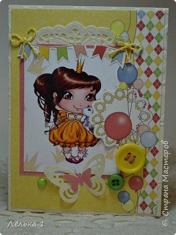Всем привет!!! Делала открытку девочке на день рождения 7 лет, для выбора сделала три. Детских открыток еще не делала, да и рисунки этой художницы (LIA) очень нравятся мне, вот и получилась такая мини серия. Материалы: бумага скрапберрис, пуговицы, цветы, брадс, полубусины и т.д. Размер 10*15.  №1 фото 1