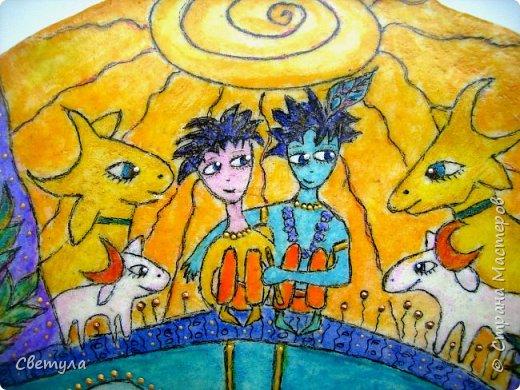 Доброго времени суток, Страна!!!!! Увидела в контакте иллюстрацию, и мне срочно захотелось воплотить такую же  в тесте. Сказано - сделано! И вот у меня теперь Кришна живет!:)))))) По картинке я в нете нашла автора, им оказалась Евгения Нестерова, очень талантливый Художник. фото 7