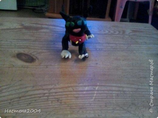Кот Бич из Котов воителей.Все работы выполнены из пластилина.(Шипы на ошейнике кота сделаны из бисера.)  фото 1