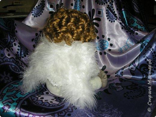 """Чулочные куклы, для меня """"проба пера"""". Как вышло - судить Вам. Вышел вот такой ангелок с голубем. фото 3"""