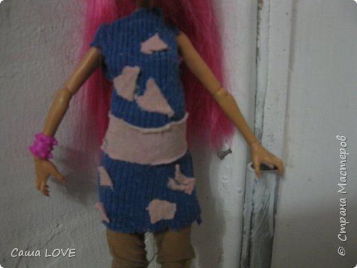 сегодня я сшила 3 кукольных костюмов вот один из них: Эту куклу зовут Лагуна ей я решила сшить тунику и ободок фото 5