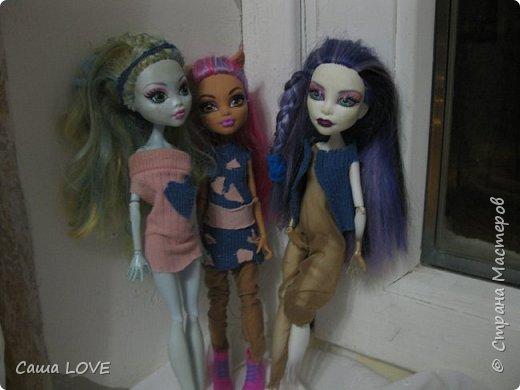 сегодня я сшила 3 кукольных костюмов вот один из них: Эту куклу зовут Лагуна ей я решила сшить тунику и ободок фото 10