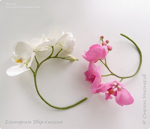 Орхидеи фаленопсис из холодного фарфора фото 12