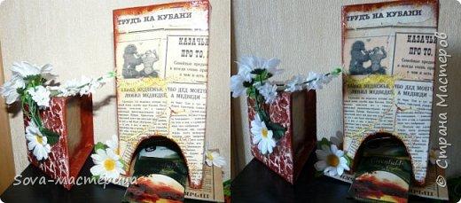 """Мой чайный домик,кубанский) Сделан из картона,обклеен копией газеты """"Труд на Кубани"""",плюс точечная роспись и цветы.Крыша  снимается,она обклеена яичной скорлупой))) фото 4"""