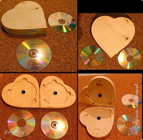 """Бокс (шкатулка, ларец) """"сердце"""", из массива сосны, для CD, DVD, BD дисков. фото 1"""