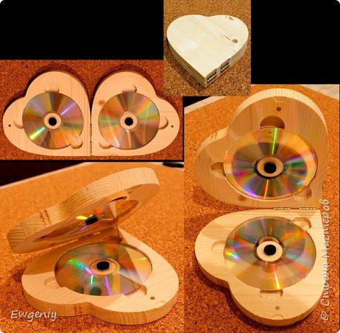 """Бокс (шкатулка, ларец) """"сердце"""", из массива сосны, для CD, DVD, BD дисков. фото 2"""