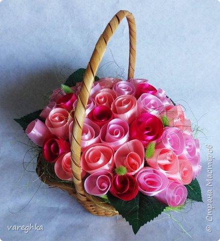 корзинка с розами из лент(душистая) фото 15