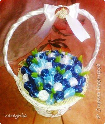 корзинка с розами из лент(душистая) фото 7