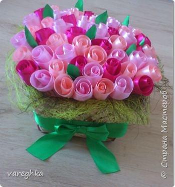 корзинка с розами из лент(душистая) фото 16