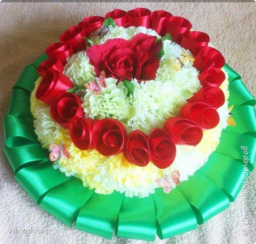корзинка с розами из лент(душистая) фото 8