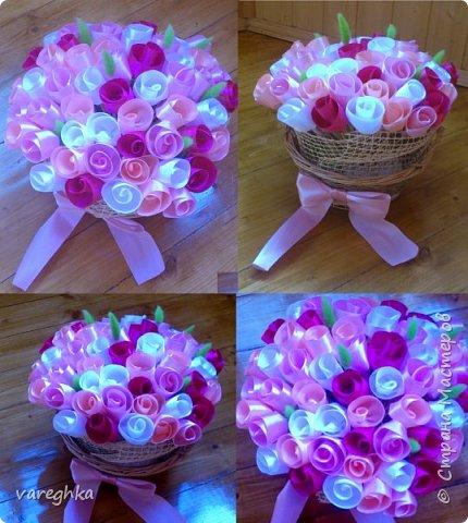 корзинка с розами из лент(душистая) фото 17