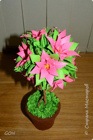 Моё первое цветочное дерево.  Много раз смотрела в интернете рассматривала подобные работы и вот решилась. Мои вдохновители: Marisabell (https://stranamasterov.ru/node/109096) и  ОЛЬГА1977 (https://stranamasterov.ru/node/380584). фото 1