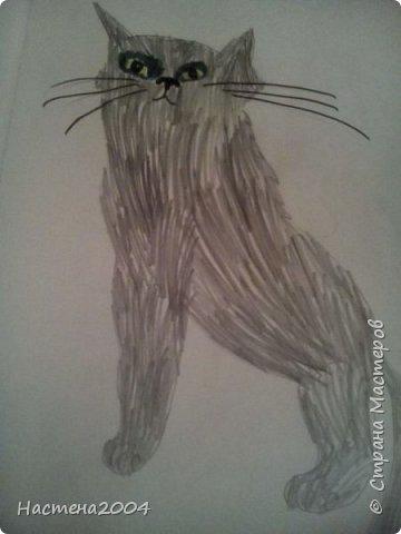 """Вот такой Кот- воитель получился. Кот Горелый срисован с книги """"Коты воители"""" . Глаза, и вокруг раскрашены фломастером,а сам кот карандашом."""