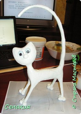 Мастер-класс Папье-маше Лемурный кот Бумага Клей Краска фото 10