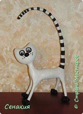 Мастер-класс Папье-маше Лемурный кот Бумага Клей Краска фото 12
