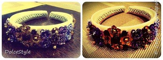 Здравствуйте, дорогие девушки!В последнее время я увлеклась ободками в стиле Dolce&Gabbana, и пытаюсь изобразить что-то наподобие)Вышиваю на бархате искусственным жемчугом, стразами, бусинами и золотистой фурнитурой: фото 10