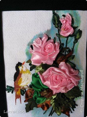 Здравствуйте,мои дорогие соседи-жители  любимой Страны!Что-то начало года меня разленило,месяц прошел,а никаких работ новых,в игры играю- в детство впала)) Но,между делом,такая вот птичка с розами у меня появилась!Птичка чирикает так славно,а розы благоухают)))очень меня радуют!Надеюсь,что и вы улыбнетесь,мои милые!! фото 2