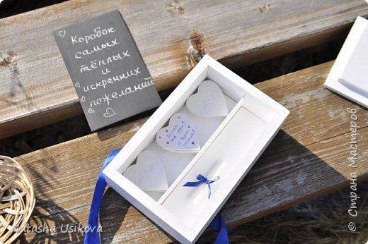 Прошлой весной я получила большой и в то же время очень интересный заказ. Лена (заказчица) попросила сделать для неё блюдце для колец в форме сердца и декорировать его микробисером синего и белого цвета . Основные цвета свадьбы:белый и синий.  фото 15