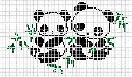Простая вышивка милых панд с листочками бамбука. фото 3