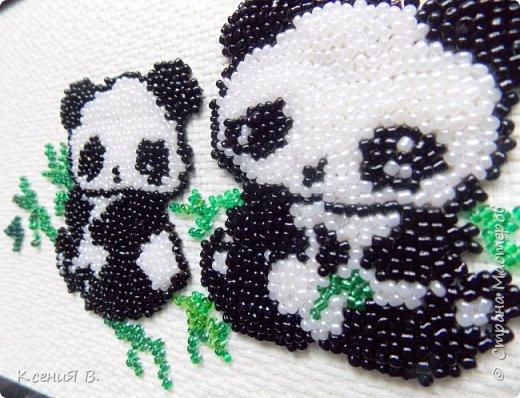 Простая вышивка милых панд с листочками бамбука. фото 2