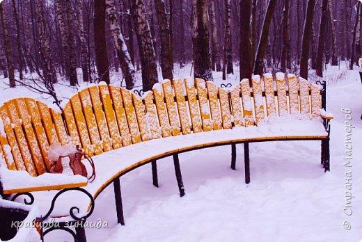 ДОБРЫЙ ДЕНЬ , решила погулять по моему любимому парку , был сильнейший снегопад и пасмурно , но меня понесло,  погуляла  , пофотографировала,  посмотрела на снимки и решила их как то оживить , надо когда - то учиться и работать в фотошопе! и стала редактировать , изменила освещенность, контрастность  цвет , тени , ну и т. д. и получились вот такие фото.   фото 13