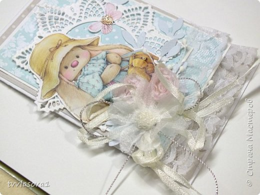Ой,девочки,получила я  бумагу  с такими милыми заями... вот первую для внучки на годовасие сделала... фото 2